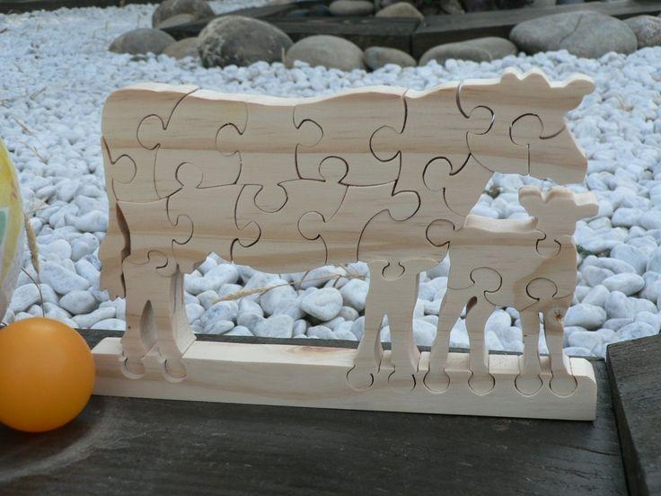 """Puzzle en bois """"La Vache et son Veau """" jouet en bois"""