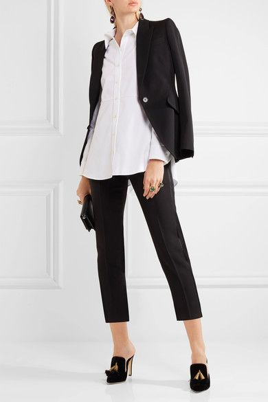Alexander McQueen - Ruffled Cotton-piqué Shirt - White - IT36