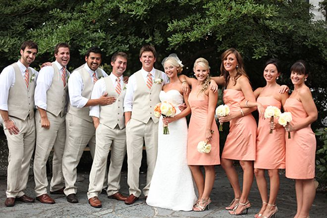 Aqua & Peach Southern Wedding | Esther Louise Photography | Bridal Musings (10)  LOVE the grey suit look!!