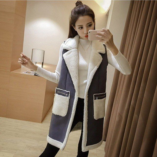 223252525aab66 New Winter Women Sleeveless Vest Waistcoat Casual Turn-down Neck Cotton Vest  Jacket Female Faux Suede Long Patchwork Vests Coats