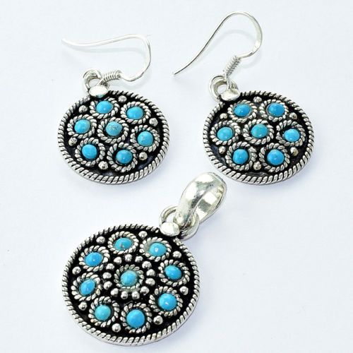An Exquisite and Awesome Blue ‪#‎Turquoise‬ Round 925 Sterling Silver ‪#‎Earrings‬ ‪#‎Pendant‬ ‪#‎Set‬ ‪#‎Jewelry‬ For more, please visit: http://www.akratijewelsinc.com ‪#‎onlineshop‬ ‪#‎shoponline‬ ‪#‎jewellery‬ ‪#‎Akrati_Jewels_INC‬