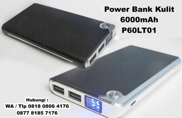 menjual Power Bank Kulit, Souvenir Powerbank Leather Slim 6000mAh P60LT01, Power Bank Kulit Harga Murah di Tangerang