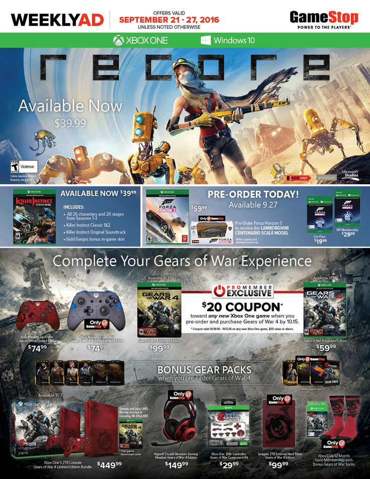 Game Stop Weekly Ad September 21 - 27, 2016 - http://www.olcatalog.com/game-stop/game-stop-weekly-ad.html
