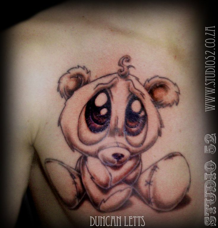 cute teddy bear by duncan letts tattoo studio 52 bayside mall cape town tattoos52. Black Bedroom Furniture Sets. Home Design Ideas