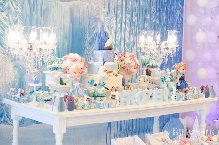 Frozen themed birthday party via Kara's Party Ideas KarasPartyIdeas.com Desserts, cakes, printables, invitation, favors, and more! #karaspartyideas #frozen #disneysfrozen (6)