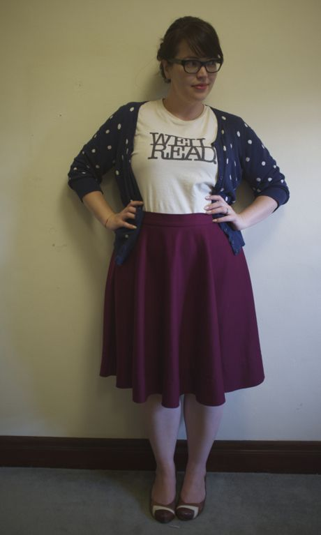An open cardigan works well with the T-shirt. Photograph: Frocks and Frou Frou