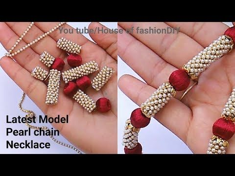 Latest Model pearl chain Necklace Making At Home||Silk thread Jewellery.. - YouTube