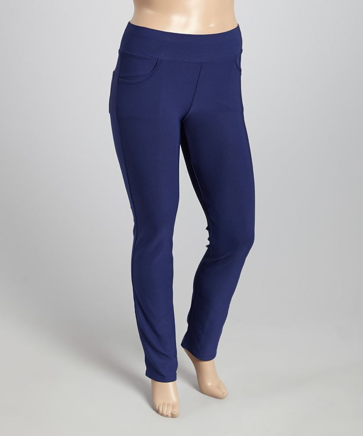 Another great find on #zulily! Navy Straight-Leg Jeggings - Plus by Poplooks #zulilyfinds
