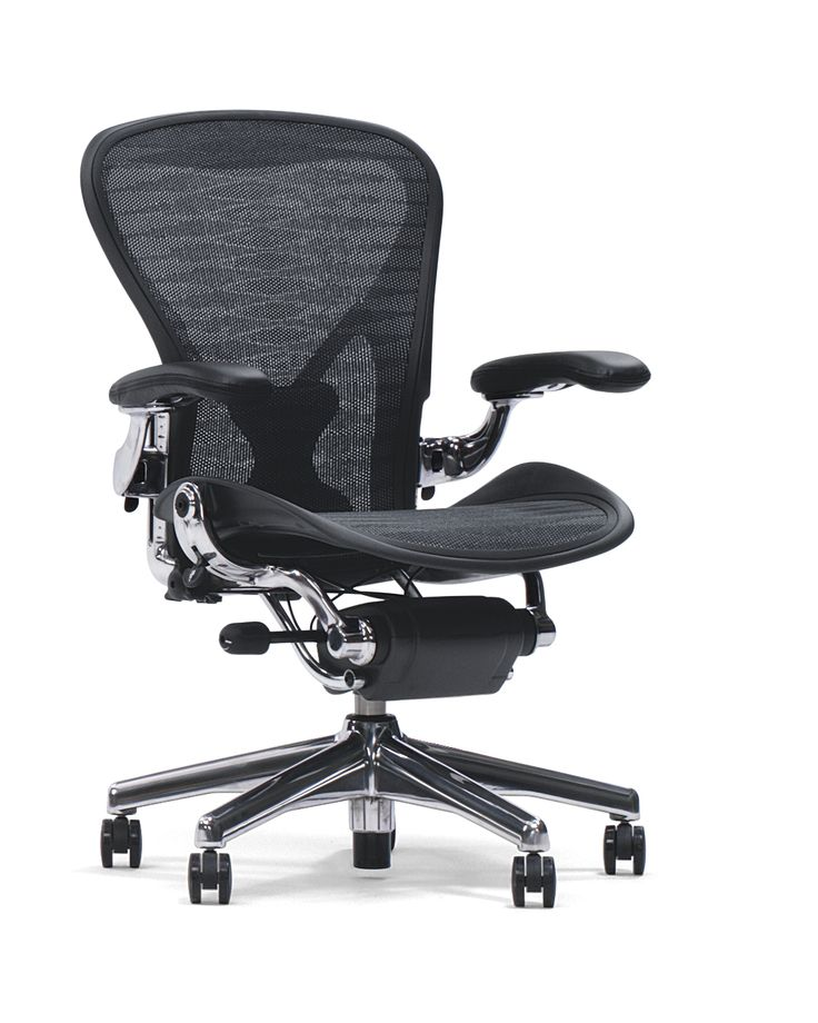 "Aeron Chair - At a time in the early 1990s when many more people were working for longer each day, often on computers, the US furniture manufacturer Herman Miller decided to develop a new office chair – the Aeron – for ""the person who sits in it longer than he or she should""."
