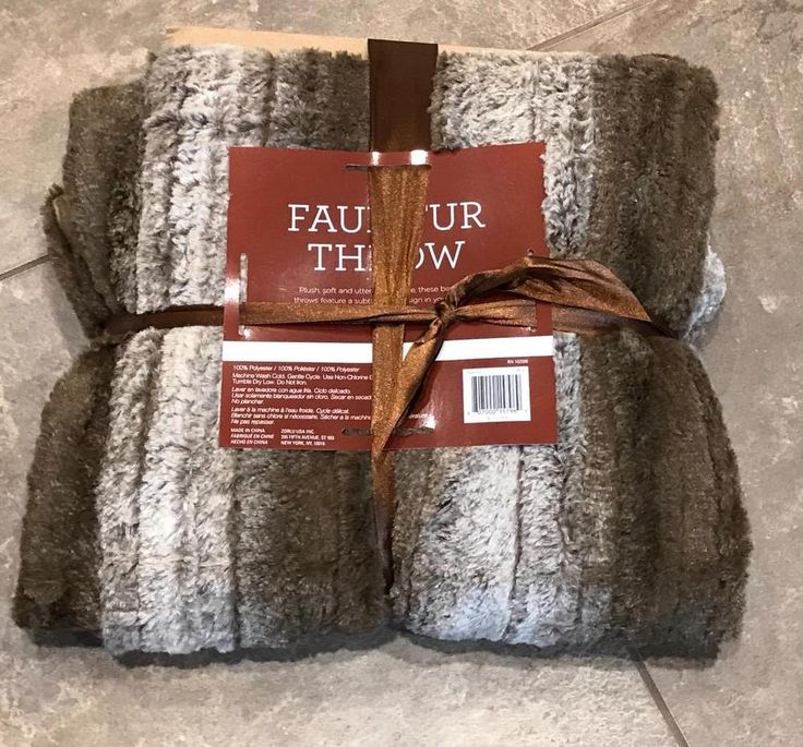 Faux Fur Brown Throw Blanket - Brand new with tags GIFT Warm Decor Striped Soft #NoBrand