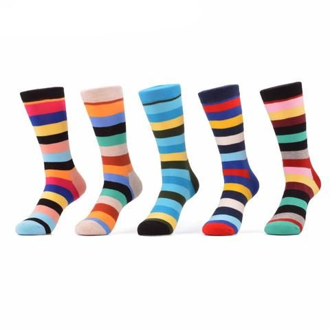 Spandex, Nylon and Cotton Breathable Striped Dress Socks Pack of Five (5)