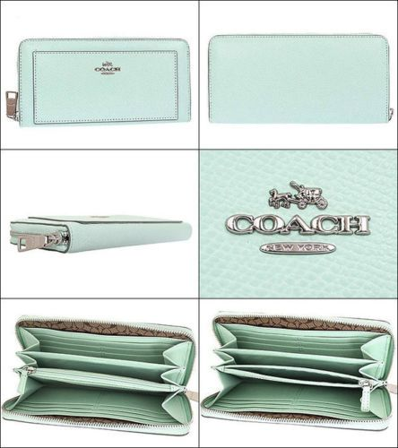 NWT Coach XGRN Leather Zip Around Wallet Seaglass F 52648
