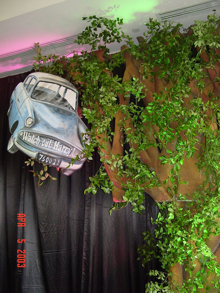 Flying car and Whomping Willow. Would be cool outside, lit with floodlights.