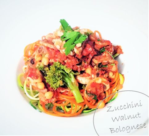Zucchini Pasta with Walnut Bolognese Recipe- Pasta without the guilt  http://handpickedvegan.com/2014/07/09/zuccini-walnut-bolognese/ vegan, dinner, lunch, low carb