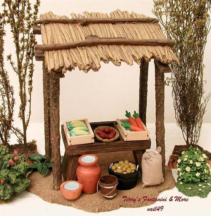 "FONTANINI ITALY 5"" RETIRED 9PC VENDOR KIOSK w/ACCESSORIES NATIVITY VILLAGE GCIB #Fontanini"