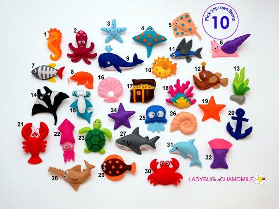 SEA CREATURES felt magnets, octopus sea turtle clownfish seahorse seastars fishies crab jellyfish dolphin octopus ray