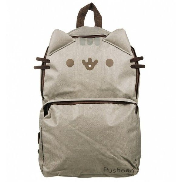 Pusheen Backpack With Ears found on Polyvore featuring bags, backpacks, backpack, brown backpack, backpack bags, rucksack bags, knapsack bag and brown bag