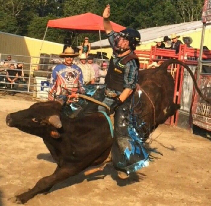 Buck YOU 8 Seconds Riding Bulls Foxhollow Rodeo, Ohio Photo sent by Rodeo Rider Bryce Riley Team Cowboy Coffee Chew