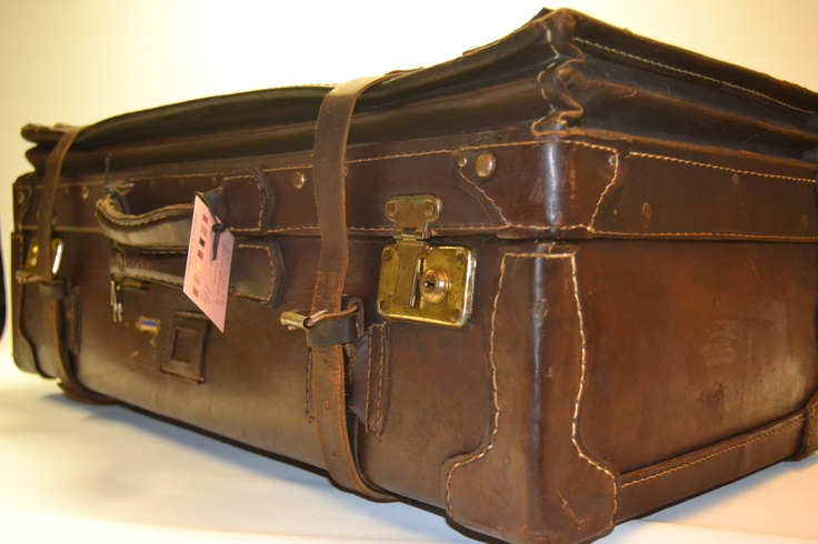 restored leather suitcase