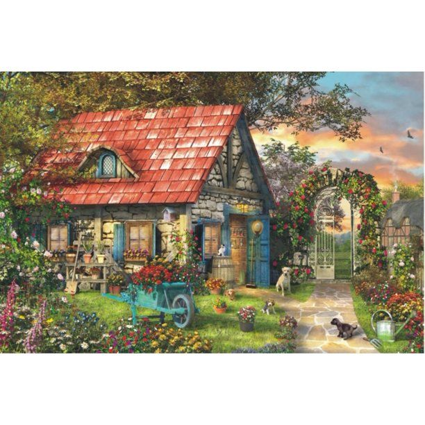 Jigsaw Puzzle Home Sweet Home 1000 Pieces By Wuundentoy Walmart Com In 2021 Cabin Art Cottage Art Scenery