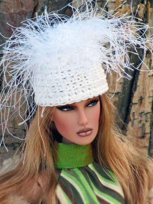 Winter SNOWFALL Crochet Hat for 1/6 Scale Dolls by OneSixthSense, $11.00
