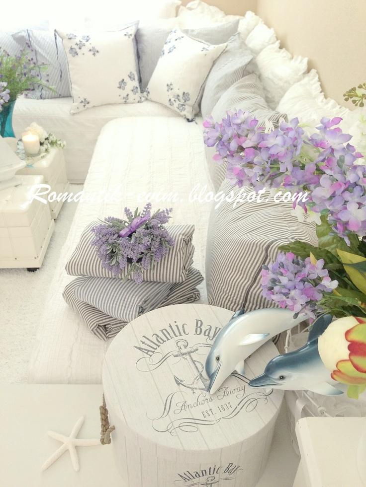 Yazlık ev dekorasyonu Romantik ev mavi dekorasyon Sahildeki ev