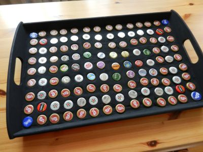 Tray made of beer caps