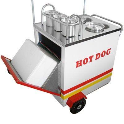 TudoEquipa - Carrinho de cachorro quente com 2 cubas banho maria, 3 molheiras frias e 1 caixa térmica