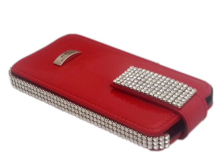 Openable Cango & Rinaldi iPhone5S case with red patent leather is an extremely beautiful new comer. Red patent leather openable iPhone5 case from Cango & Rinaldi gives beautiful home for your iPhone5S. Genuine red patent leather iPhone5S case has openable front cover which can be folded back while you use your iPhone5S. This beautiful red patent leather cell phone case is decorated with bright Swarovski crystals and handmade in Italy.