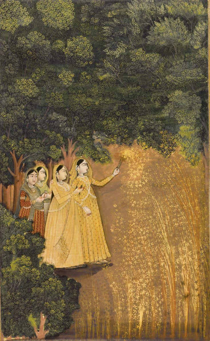 Ladies with Fireworks, school of Mir Kalan Khan, Lucknow, India ca. 1780.