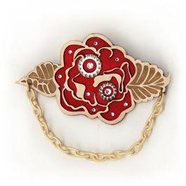 Hybrid Rose leather brooch #swarovski #leather #lasercut #organic #mechanic
