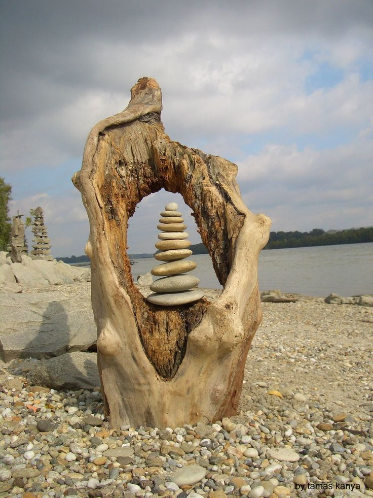 driftwood art stone balance