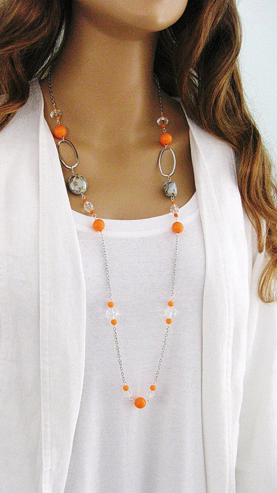 Collar naranja collar de cadena de plata por RalstonOriginals