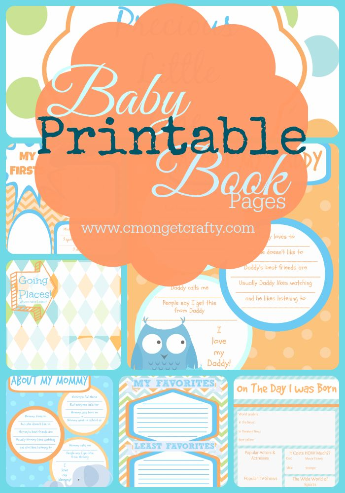 Cute orange and blue color combination makes up these free printable baby book pages - download yours now!