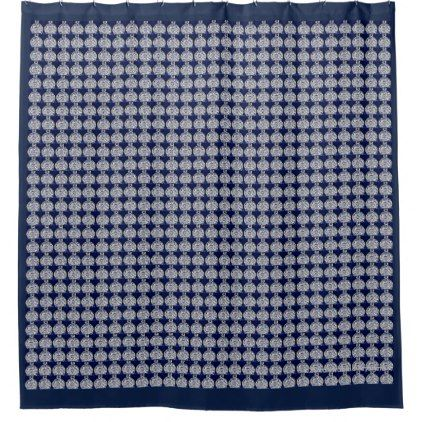 DENIM BLUE ABSTRACT PLAID SHOWER CURTAIN - blue gifts style giftidea diy cyo