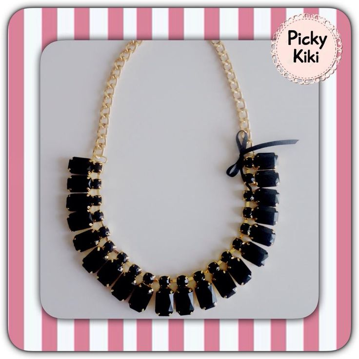 Statement with black stones and a golden aluminum chain that it will not go black! ;) | Picky Kiki