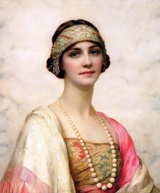 "William Clarke Wontner (1857-1930) English Artist.  ""An Elegant Beauty"""