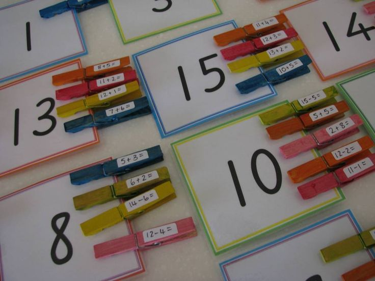 Peg-a-Number Facts - clothes pins with sums on them, to be pinned onto the correct number. Good addition and number recognition practice.