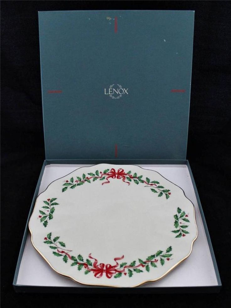 Lenox HOLIDAY Cake Plate with Red Ribbon Accent 11.75 D | Lenox Holiday China | Pinterest | China patterns and China & Lenox HOLIDAY Cake Plate with Red Ribbon Accent 11.75