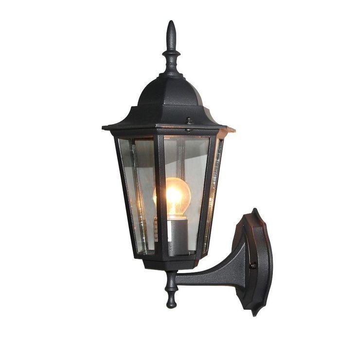 LNC Patio/Porch One-Light Exterior Wall Lantern Outdoor Light Fixture 6-sided Black