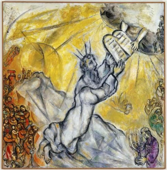 Moses erhält die Gesetzestafeln, 1966, Marc Chagall Medium: Öl, Leinwand