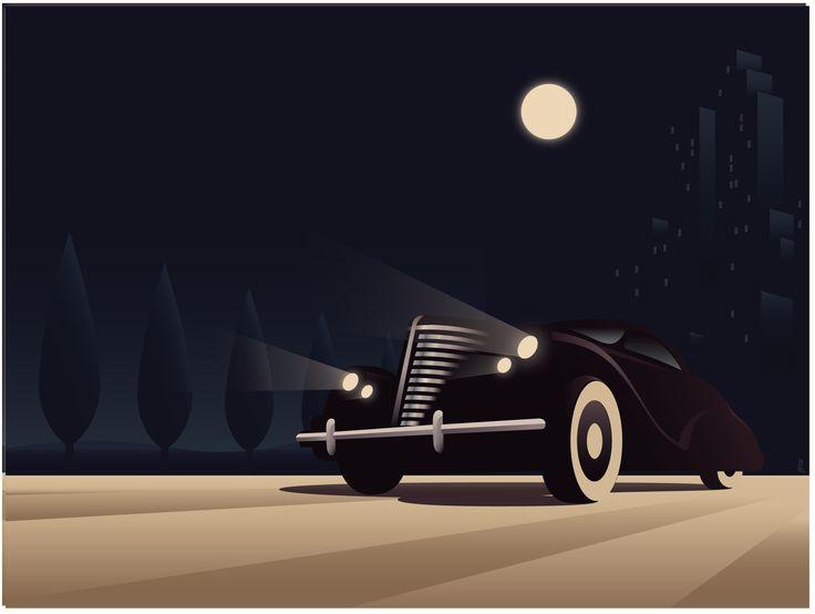 Art Deco Car Poster Vector Architecture Style Amp Design