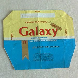 Vintage 1960s Galaxy Chocolate Wrapper For Sale