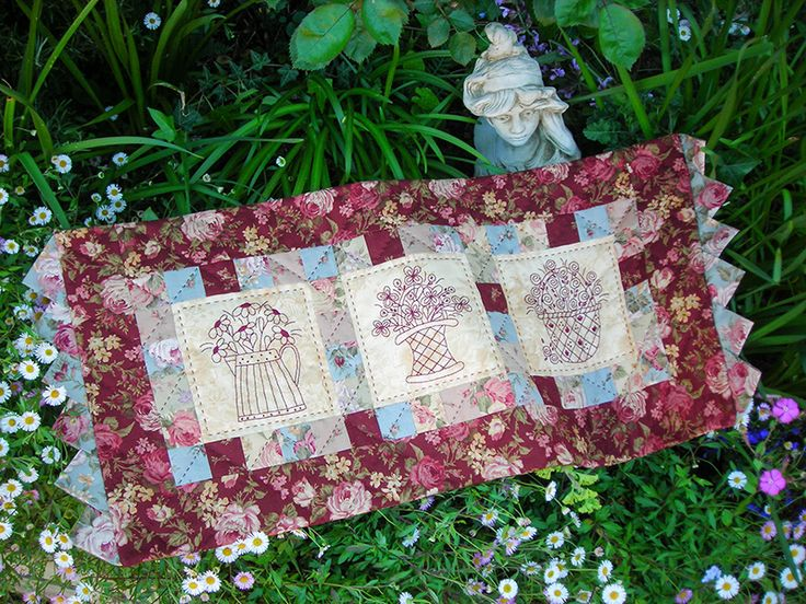 """""""The Flower Market"""" by Sally Giblin of The Rivendale Collection. Finished table runner size: 32"""" x 14½"""".   #TheRivendaleCollection stitchery, appliqué and patchwork patterns. www.therivendalecollection.com.au"""