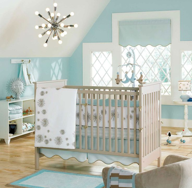 Bedroom: Simple Blue Wall Design Baby Nursery Ideas With Cream Curtains For Windows And Steel Beds Front Opened The Door from Realizing Baby Nursery Ideas on Budget