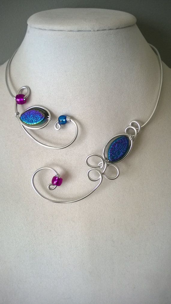 Blue and purple Open collar necklace Design by LesBijouxLibellule