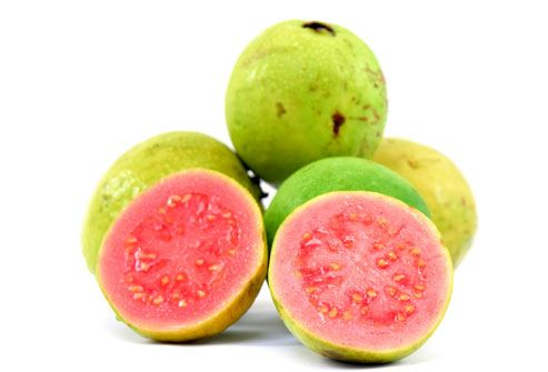 Guava  Juicy, sweet, and acidic, the guava's taste is reminiscent of strawberries and pears. The edible rind may be white, yellow, pink, or red and may be seedless or filled with pale, edible seeds. Round, oval, or pear-shaped, guavas tend to be 2-4 inches long and are an excellent source of vitamin C. Also containing vitamin A, fiber, potassium and phosphorus, guava can be used in juices, jams, and desserts.: Healthiest Food, Tropical Fruit, Benefits Of, Color, Guava, Fruits, Fruit Trees, Vitamins C, Figs