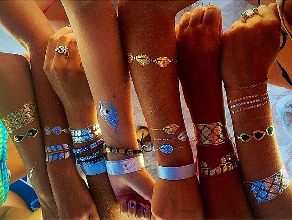 Love these fake tattoos! Rouelle ELLEtatts ANY 4 FOUR SHEETS Metallic Tattoos, flash tattoos, gold tattoos, silver tattoos, temporary tattoos, jewelry tattoos.