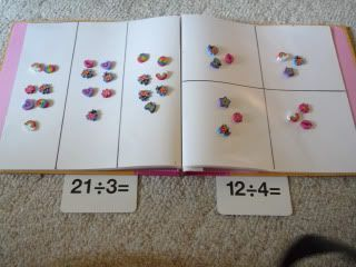My 7 year old first grader has been using manipulatives to learn multiplication concepts. She recently got a deck of division flash cards from her grandmother and wanted to learn division too. So I…