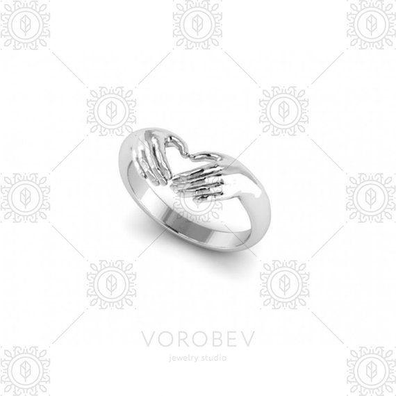 Coeur bague-mains coeur Claddagh Ring bague en par VorobevStudio